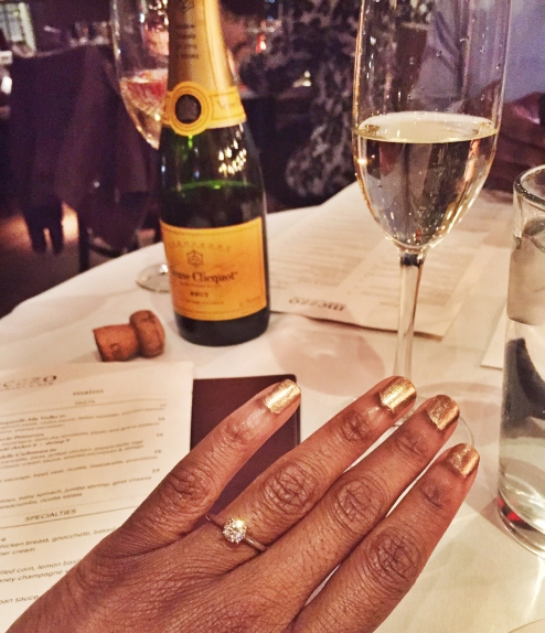 restaurant proposal engagement ring